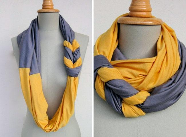 Как сделать симпатичный шарфик из старых футболок